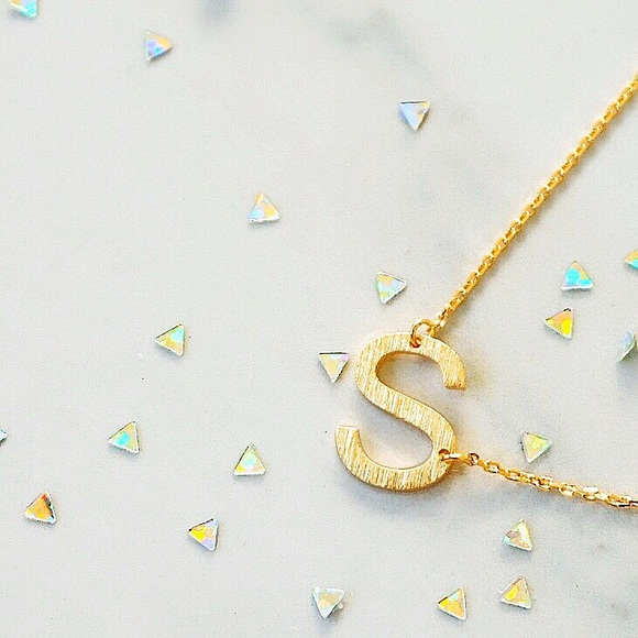 "Jewelry - Letter ""S"" Initial Gold Plated Dainty Necklace"